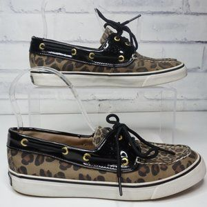 Sperry Leopard and Black Top Sider Boat Shoes